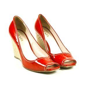 NWOT Prada Red Patent Peep Toe Espadrille Wedges